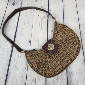 COLDWATER CREEK   woven straw wicker shoulder bag